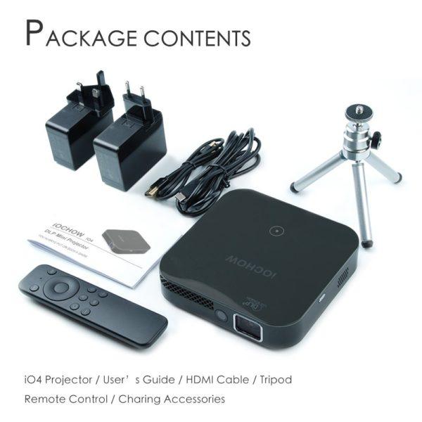 OCHOW iO4 Mini Vidéoprojecteur 1080P Vidéo HD Avec DLP 3000